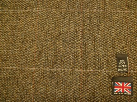 100% Wool Barleycorn Country Tweed  Windowpane Check Fabric AZ57